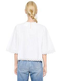 EMBROIDERED COTTON POPLIN TOP Luxury Shop, Isabel Marant, Poplin, Tunic Tops, Cotton, Shopping, Women, Fashion, Moda