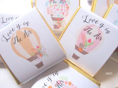 "Personalised Chocolates Wedding Favours Hot Air Balloon Collection ""love is in…"