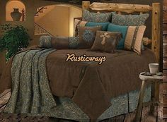 NEW Western Rustic Monterrey Cross Comforter Bedding Super King or Queen 5pc set
