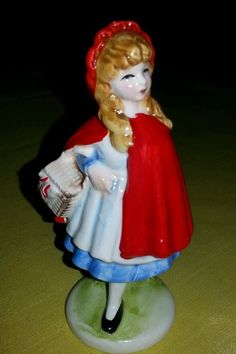 """BOTTOM OF FIGURINE READS: COPYRIGHT SHACKMAN ~ MADE IN JAPAN  RED RIDING HOOD MEASURES 4 3/4"""" TALL"""