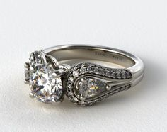 [a very vintage & western vibe)  14K White Gold Pave and Pear Three Stone Diamond Engagement Ring