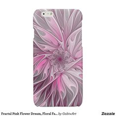 Fractal Pink Flower Dream, Floral Fantasy Pattern Glossy iPhone 6 Case