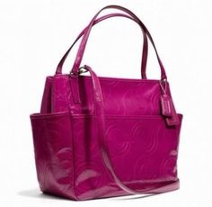 NWT COACH Stitched Deep Port Wine Pink Patent Leather Baby Diaper Bag Tote 25141