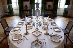 "A dinner service is displayed on a table on the occasion of the ""Dinner in XVII et XVIII century"" exhibition on February 23, 2015 in the Musee des Arts Decoratifs de Bordeaux, southwestern France. AFP PHOTO JEAN-PIERRE MULLER"