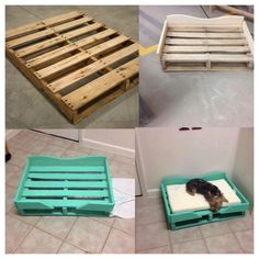 Homemade palette dog bed