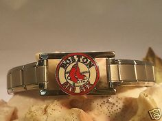SOLD Boston-Red-Sox-Italian-Charm-Bracelet-Stainless-Steel-PETER-DAVID-MLB-Jewelry