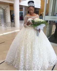 2018 Modest Wedding Dresses with A Line Long Sleeve Sheer Neck Vintage Beads Lace Ball Gown Beads Puffy Backless Bridal Dress African Puffy Wedding Dresses, African Wedding Dress, Plus Size Wedding Gowns, Western Wedding Dresses, Princess Wedding Dresses, Modest Wedding Dresses, Bridal Dresses, African Weddings, Couture Dresses