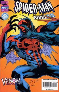 Spider-Man 2099 # 36 by Jae Lee & Peter Palmiotti Marvel Comic Character, Marvel Comic Books, Comic Book Characters, Marvel Characters, Comic Books Art, Marvel Comics, Comic Art, Book Art, Anti Venom Marvel