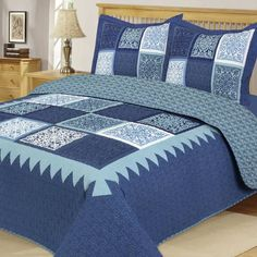 product image for Riley Reversible Quilt Set in Blue