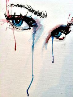 """Ora non ci resta che piangere, ma molto presto anche le lacrime finiranno.  """"Blue Eyes"""" opera di Gwen Begley"""