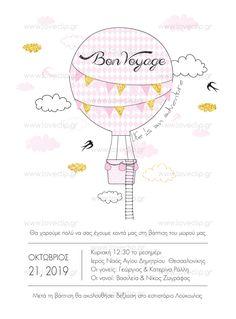 BON VOYAGE  Προσκλητήριο με  αερόστατο στολισμένο με σημαιάκια, σύννεφα και χελιδόνια. Invitations, Girls, Bon Voyage, Toddler Girls, Daughters, Maids, Save The Date Invitations, Shower Invitation, Invitation