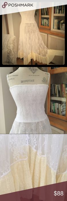 Lovely  Free People  White w/Cream Lace dress Such an amazing beautiful NWOT ~ FP White Lace dress  smocked top with removable straps and lovely lace skirt ~ edged with cream ruffle (midi ~ but a maxi on me! I'm 5' tall :) Free People Dresses Midi