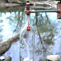 4 Wine Bottle Tiki Torches - Clear Glass | harvestmoonshoppes - Housewares on ArtFire