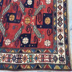 Kazak Pinwheel rug, TOP exclusive offer for collector, original caucasian carpet #PinwheelSwastika #TOPexclusiveantiquerugforcollector