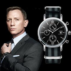 SINOBI James Bond Watch Fashion Nylon Strap Chronograph Watch Men Watch James Bond 007 Watches Male Hour Clock relogio masculino