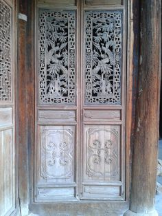 This is truly an antique hand carved wood door. The detailed work in the panels shows the master craftsmanship of a true artisan.