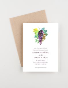 Vineyard and Winery Save The Date, Purple and Green, Watercolor Painting, Wedding Announcement, Wedding Invitation by seahorsebendpress on Etsy