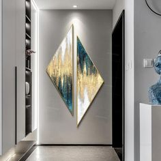 Framed wall art Set of 2 wall art abstract paintings on canvas original Gold art teal green Creative Triangle Painting Triangular Frames On Wall, Framed Wall Art, Wall Art Decor, Gold Leaf Art, Gold Art, Diy Canvas Art, Acrylic Painting Canvas, Painting Canvas Sizes, Abstract Wall Art