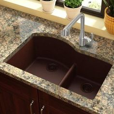 "Elkay Quartz Classic 33"" x 22"" Double Basin Undermount Kitchen Sink Finish: Pecan"