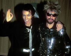 Annie Lennox, dressed as Elvis Presley, and Dave Stewart of the Eurythmics at the 1984 Grammy Awards in Los Angeles on February 28th, 1984.