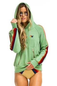 CLASSIC PULLOVER HOODIE - MINT // VELVET STRIPES - Aviator Nation