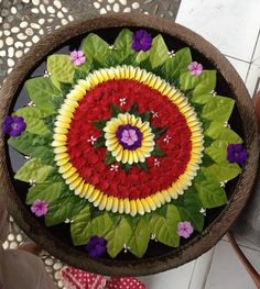 flowers arranged in bowl of water- traditional decoration for auspiciousness… Diwali Decorations, Indian Wedding Decorations, Festival Decorations, Flower Decorations, Flower Rangoli, Flower Mandala, Mandala Art, Flower Art, Rangoli Ideas