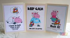 Greeting Cards for Knitters & Sewers - 3Pk Knitting - Sewing - Birthday Novelty