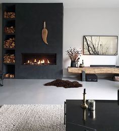 Home Fireplace, Living Room With Fireplace, Fireplace Design, Home Living Room, Living Room Designs, Living Room Decor, Modern Interior, Home Interior Design, Living Room Inspiration