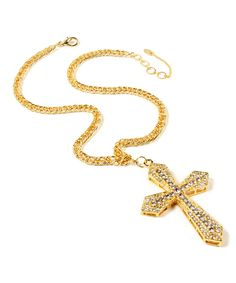 Take a look at this Goldtone & Crystal Cross Pendant Necklace today!