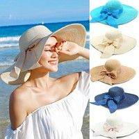 Summer sunproof floppy wide brim topee large bow straw hats outdoor sun hat  beach sunhats for women with 5 colors c0b5734bcea8