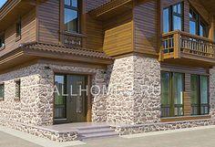 Эскиз №1 проекта K-215-1P Wooden House, Garage Doors, Multi Story Building, Villa, House Design, Architecture, House Styles, Outdoor Decor, Home Decor