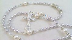 Tiny Lavender and White Swarovski Rosary by myrosarygarden.