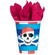 Piratenfest Tischdeko - Kinderbecher, 8 Partybecher mit Piraten-Motiven, 266 ml Piratenbecher €2,99