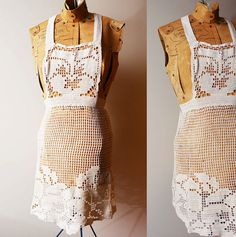 Early 1900s floral crochet apron