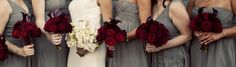 Wedding colors: red, charcoal, gold
