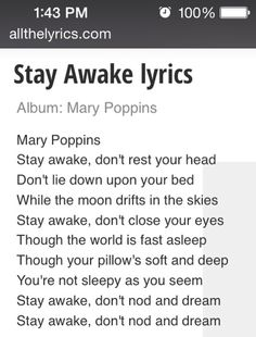 """""""Stay Awake"""" lyrics from Mary Poppins Lullaby Songs, Baby Songs, Baby Music, Songs To Sing, Kids Songs, Mary Poppins Songs Lyrics, Disney Song Lyrics, Disney Songs, Music Lyrics"""