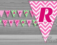 Happy Birthday party banner, girl, pink chevron, green polka dots, printable, DIY decoration, baby girl birthday, instant download