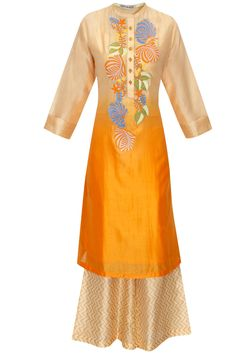Orange ombre chanderi straight kurta with palazzo pants available only at Pernia's Pop-Up Shop.