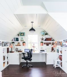 Check out this amazing Attic Renovation Before and After!  They renovated the attic space above the garage into an incredible office/ playroom/ book nook. Love that shiplap and copper lighting!