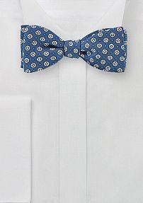 Blue Silk Bow Tie with White Geo Print Design