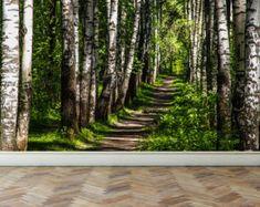 Pared brillante Mural a través de los árboles del bosque piel