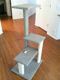 DIY Cat Tree; I like this but may make a modification to it by lowering the top a little and making it wider so I can put a hole from the third level onto the fourth. Will also increase the length of the far right (in the pic) upright to reach the fourth level platform.                                                                                                                                                                                 More