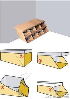 turning shoe boxes into shoe rack........... i see doing this out of wood...