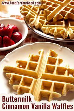 Healthy Buttermilk Cinnamon Vanilla Waffles recipe: www.FoodForYourGood.com