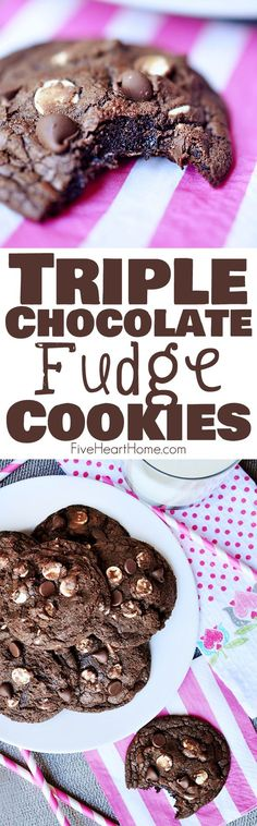 Triple Chocolate Fudge Cookies ~ intense chocolate flavor with chewy, gooey centers and two types of chocolate chips   FiveHeartHome.com