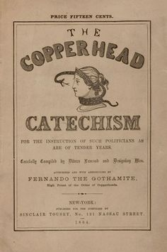 """A sarcastic """"catechism"""" ridiculing Copperheads' supposed views. Purchase a printable version here: https://www.etsy.com/listing/200503169/copperhead-badge-info-pack"""