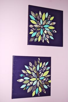 Scrapbook paper on painted canvas - mode podged afterwards (matte finish)