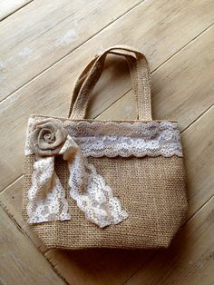 Burlap Flower Girl Bag / Basket with Rustic Tea Dyed Lace and Rosette