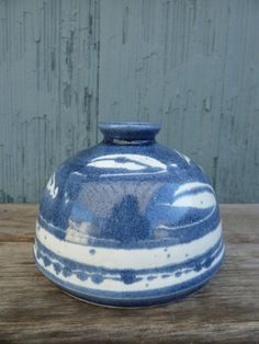 Blue and white bud vase by Pottery Shack of Laguna by OatesGeneral