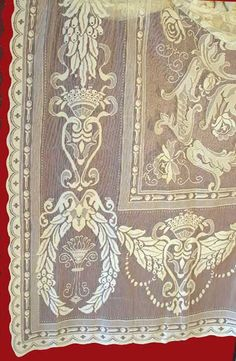 """Finely woven """"Wreath"""" pattern imported from Nottingham mills in Scotland.  Lace panels which can be made into custom lengths are $251.95."""